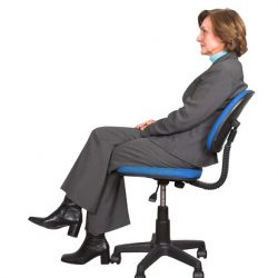 Woman sitting on her tailbone