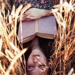 Woman resting in field