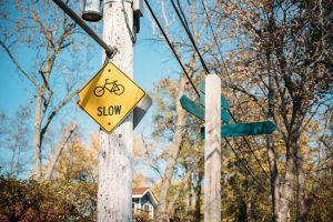 Slow sign on a walk