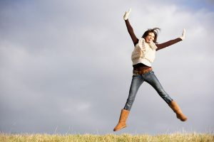 Woman jumping with ease